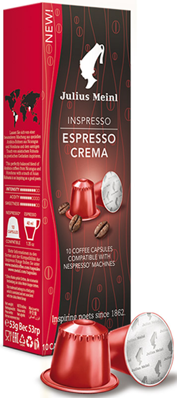 Julius Meinl Эспрессо Крема кофе в капсулах, 10 шт84593Сбалансированный бленд, вобравший в себя неповторимый вкус арабики с вулканических почв Никарагуа и Гондураса, и бархатистость азиатской робусты.Кофе: мифы и факты. Статья OZON Гид