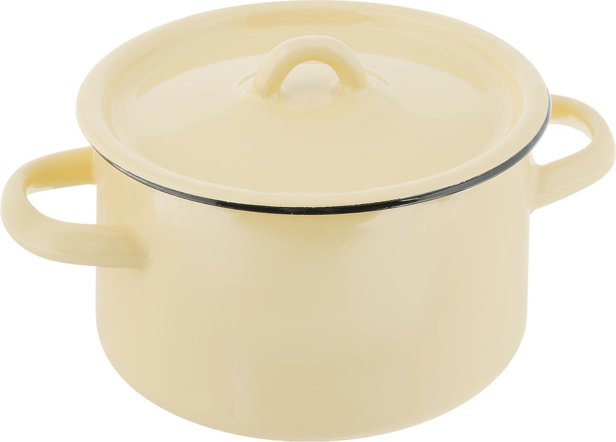 Кастрюля эмалированная СтальЭмаль с крышкой, цвет: желтый, 1,5 л кастрюля стальэмаль verano с крышкой 4 л
