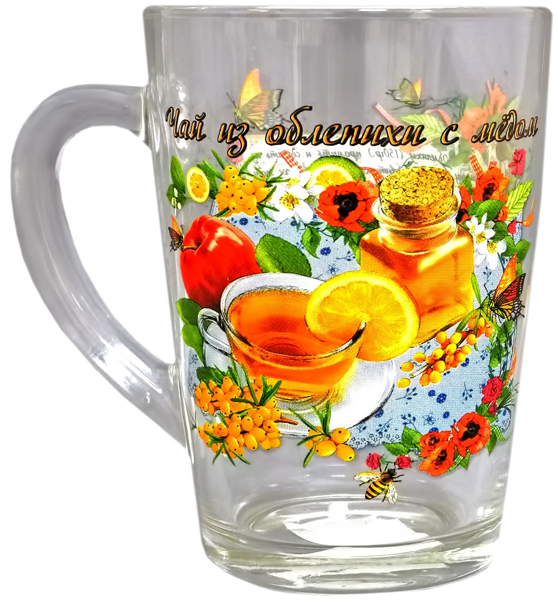 """Кружка """"Капучино. Чай из облепихи с медом"""" выполнена из стекла. Внешняя сторона оформлена оригинальным рисунком и надписью.Кружка сочетает в себе оригинальный дизайн и функциональность. Благодаря такой кружке пить напитки будет еще вкуснее."""