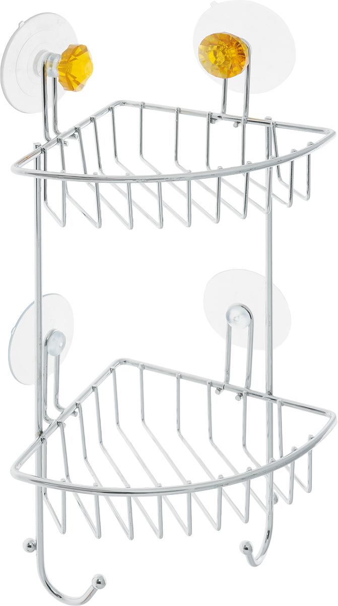 """Угловая полка для ванной Top Star """"Kristall"""" изготовлена из стали с качественным хромированным покрытием, которое надолго защитит изделие от ржавчины в условиях высокой влажности в ванной комнате. Изделие имеет два яруса и крепится к стене с помощью четырех присосок. Снизу расположены два крючка для полотенец. Классический дизайн и оптимальная вместимость подойдет для любого интерьера ванной комнаты или кухни.Размер полки: 14 х 19 х 34 см."""