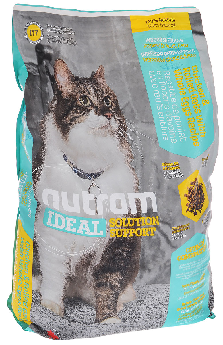 Корм сухой Nutram Ideal Solution Support I17 для кошек, живущих в помещении, с курицей, овсяными хлопьями и яйцом, 6,8 кг83093Сухой корм Nutram Ideal Solution Support I17 - специализированный полнорационный корм для здоровья кожи и шерсти кошек, живущих в помещении. Целостный (holistic), полезный, богатый питательными веществами сухой корм для кошек, который улучшает самочувствие и здоровье питомцев по принципу изнутри наружу. Подход Nutram к целостному питанию начинается с ингредиентов с низким содержанием жира для удовлетворения потребностей кошек при домашнем образе жизни. Для этого корма специально разработано особое соотношение жира лососевых рыб и семян льна. Эти ингредиенты богаты Омега-3 жирными кислотами, которые позволяют обеспечить все необходимые питательные вещества для поддержания здоровой кожи и шерсти. Кроме того, натуральная клетчатка зеленого горошка и легко усваиваемой тыквы улучшают перистальтику кишечника, способствуют естественному выведению комочков шерсти. Особенности: - Содержит мясо курицы, овсяные хлопья и цельные яйца; - Натуральная клетчатка зеленого горошка и тыквы - для естественного выведения шерстяных комочков; - Жир лососевых рыб и семена льна - источники Омега-3 жирных кислот; - Не содержит пшеницу, кукурузу, картофель или сою в любом виде. Состав: дегидрированное мясо курицы, мясо курицы без костей, зеленый горошек, овсяная мука, коричневый рис, перловая крупа, дегидрированное мясо лосося, цельные яйца, куриный жир, чечевица, сушеная свекольная масса, натуральный куриный ароматизатор, жир лососевых рыб люцерна, сушеная масса горохо, целлюлоза, яблоко, морковь, льняное семя, тыква, хлористый калий, хлорид холина, гранат, клюква, DL-метионин, таурин, витамины и минералы (витамин Е, витамин С, витамин В3, витамин А, витамин В1, витамин В5, витамин В6, витамин В2, бета-каротин, витамин D3, витамин В9,витамин В7,витамин В12, протеин цинка, cqkmafn железа, оксид цинка, протеинат железа, сульфат меда, протеинат марганца, оксид марганца, 