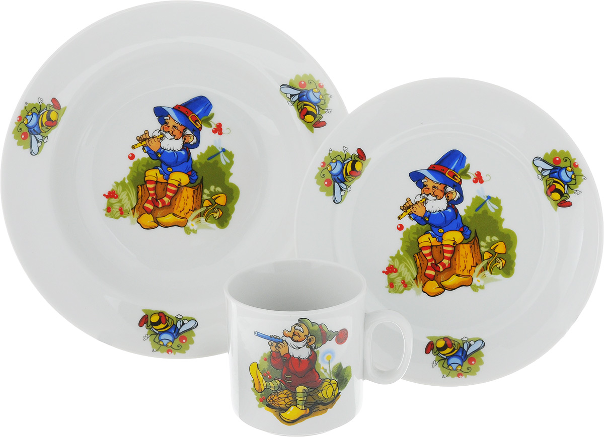 """Набор детской посуды """"Идиллия. Лесовичок"""", выполненный из высококачественного фарфора, состоит из кружки, обеденной тарелки и глубокой тарелки. Материал изделий нетоксичен и безопасен для детского здоровья. Изделия оформлены красочным рисунком. Детская посуда удобна и увлекательна, она не оставит равнодушным вашего малыша. Привычная еда станет более вкусной и приятной, если процесс кормления сопровождать игрой и сказками. Красочная посуда является залогом хорошего настроения и аппетита ваших детей, а также станет желанным подарком. Диаметр обеденной тарелки: 16,5 см. Диаметр глубокой тарелки: 19,5 см. Высота глубокой тарелки: 4 см. Объем кружки: 200 мл. Диаметр кружки (по верхнему краю): 7,5 см. Высота кружки: 7,5 см."""