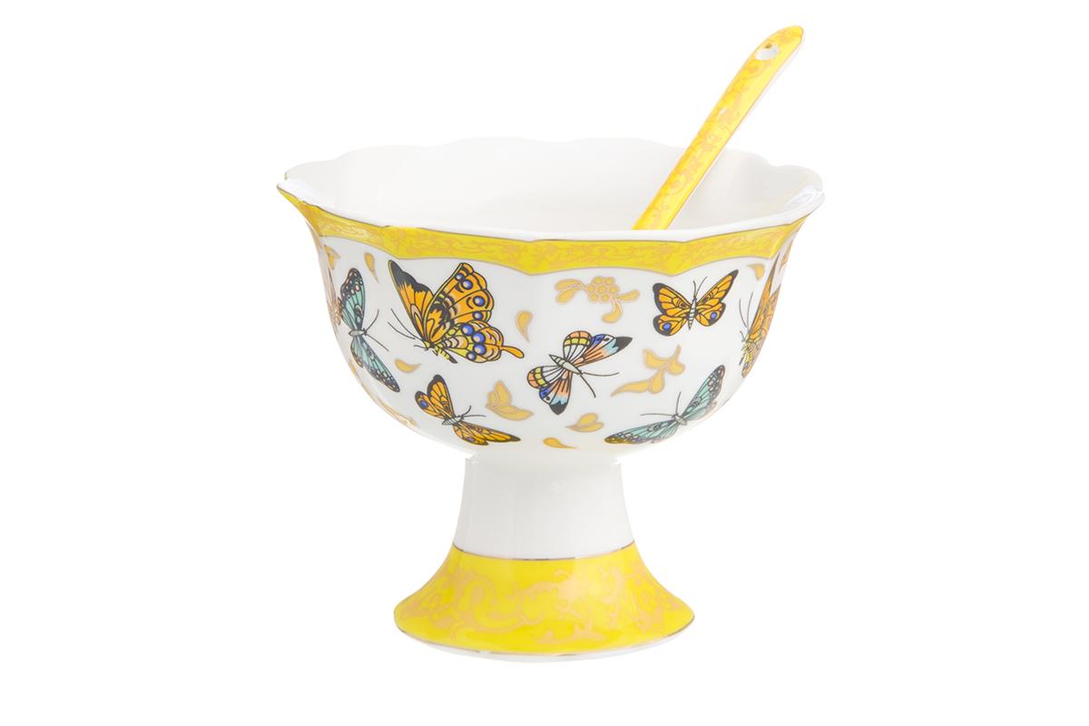Креманка Elan Gallery Бабочки, с ложкой, диаметр: 10,5 см отвертка квт 67378