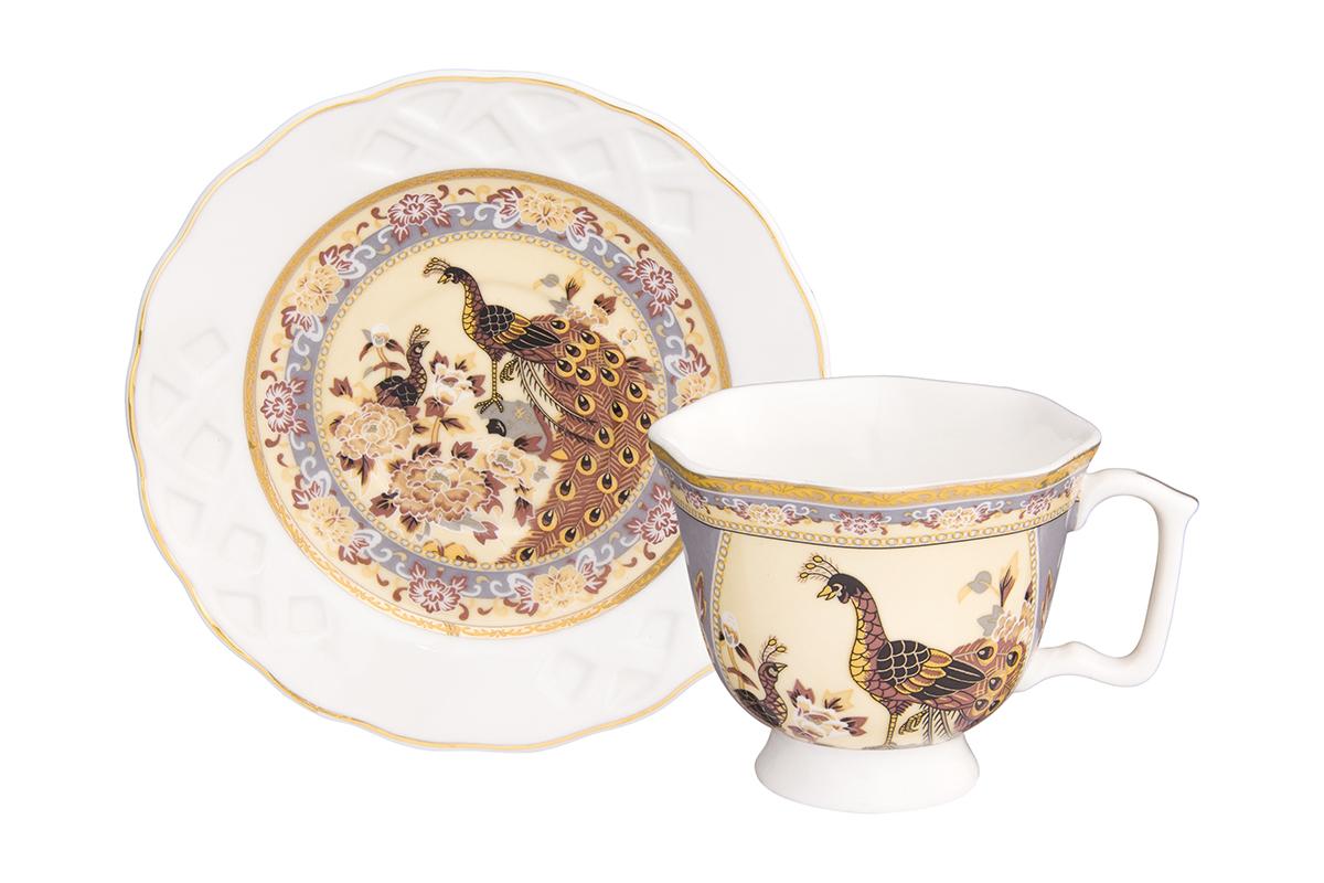 Кофейная пара Павлин на бежевом 2 предмета, блюдце ажурное - 11х11х1,8 см., чашка расклешенная на ножке - 9х7,5х6 см. 100 мл., в п/у Elan Gallery180989Кофейный набор на 1 персону понравится любителям кофе. В комплекте 1 чашка объемом 100 мл, 1 блюдце. Изделие имеет подарочную упаковку, поэтому станет желанным подарком для Ваших близких!