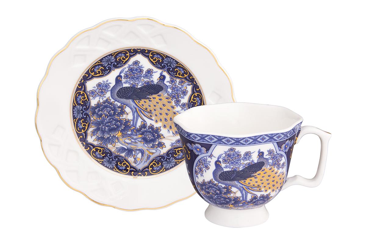Кофейная пара Elan Gallery Павлин синий, 100 мл, 2 предмета180990Кофейный набор на 1 персону понравится любителям кофе. В комплекте 1 чашка объемом 100 мл, 1 блюдце. Изделие имеет подарочную упаковку, поэтому станет желанным подарком для Ваших близких!
