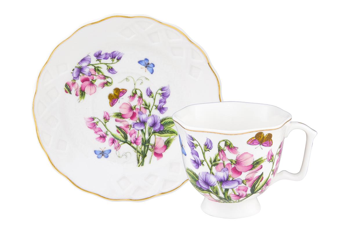 Кофейная пара Elan Gallery Душистый цветок, 2 предмета, 100 мл180992Кофейный набор на одну персону Elan Gallery Душистый цветок понравится любителям кофе.В комплекте 1 чашка объемом 100 мл, 1 блюдце.Изделие станет желанным подарком для Ваших близких!