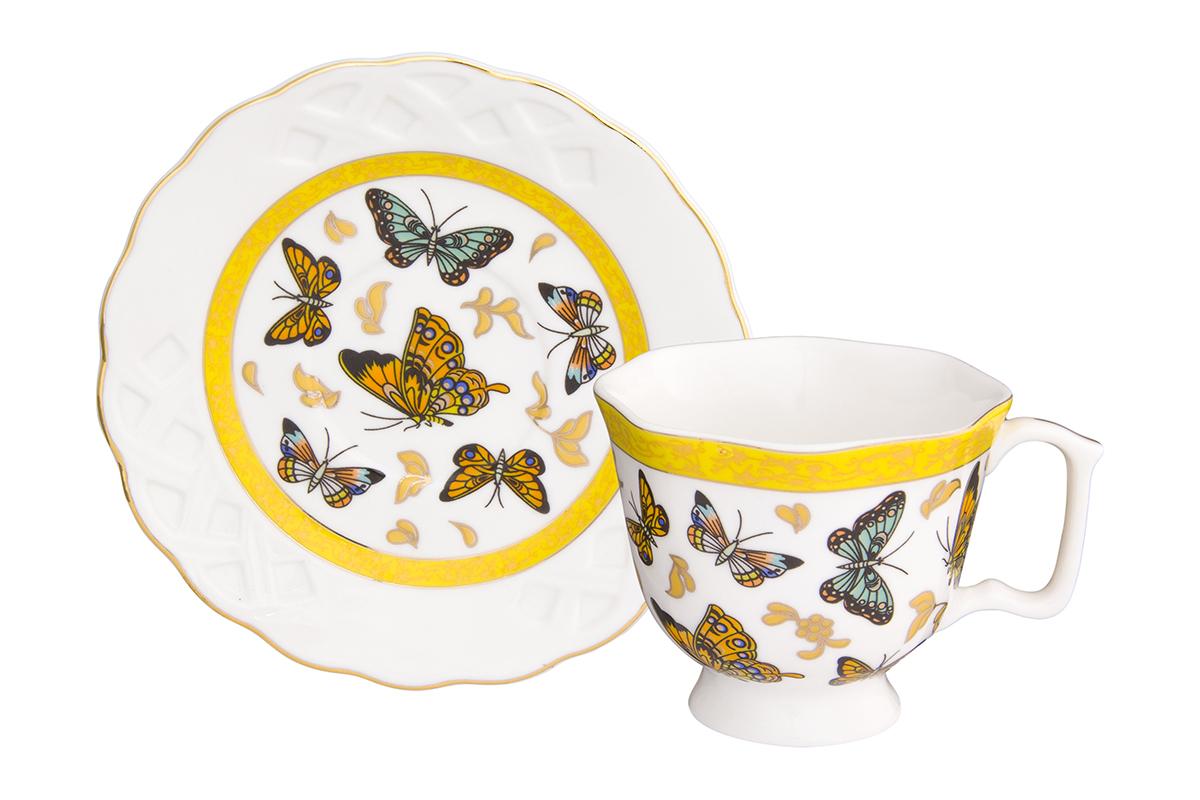 Кофейная пара Elan Gallery Бабочки, 2 предмета, 100 мл180993Кофейный набор на одну персону Elan Gallery Бабочки понравится любителям кофе.В комплекте одна чашка, одно блюдце. Соберите всю коллекцию предметов сервировки Бабочки, и ваши гости будут в восторге! Изделие станет желанным подарком для ваших близких!Не применять в микроволновой печи.