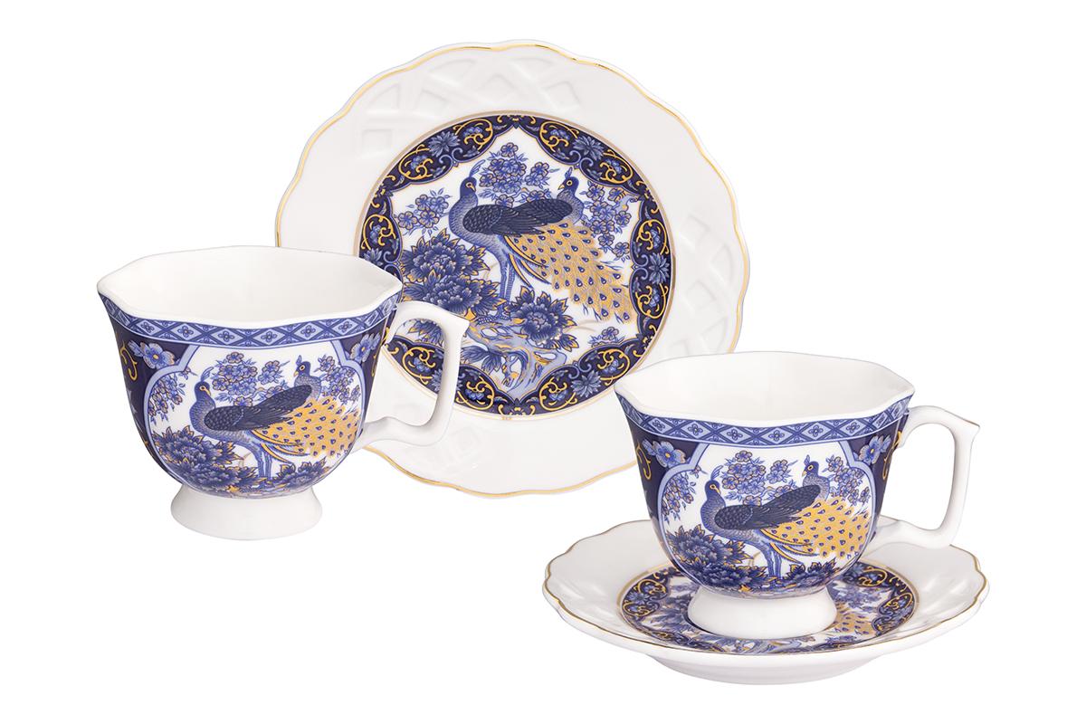 Кофейная пара Elan Gallery Павлин синий, 4 предмета, 100 мл180996Кофейный набор на две персоны Elan Gallery Павлин синий понравится любителям кофе.В комплекте 2 чашки объемом 100 мл, 2 блюдца.Изделиестанет желанным подарком для Ваших близких!