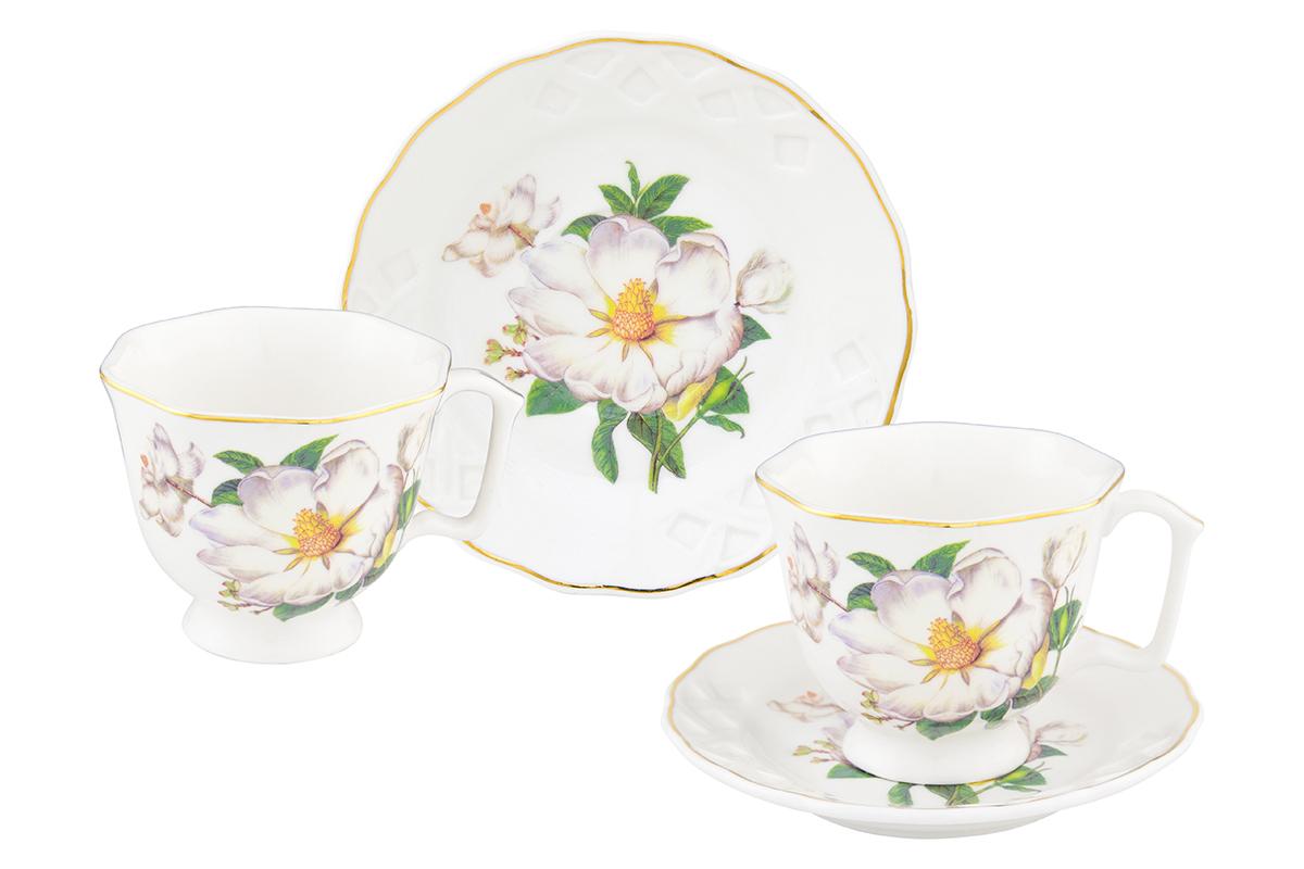 Кофейная пара Elan Gallery Белый шиповник, 4 предмета180997Кофейный набор на 2 персоны Elan Gallery Белый шиповник понравится любителям кофе.В комплекте 2 чашки объемом 100 мл, 2 блюдца. Изделие станет желанным подарком для Ваших близких!