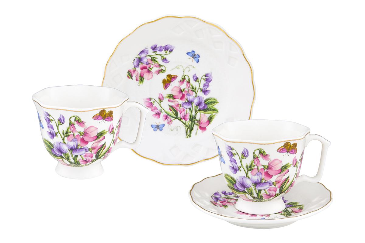 Кофейная пара Elan Gallery Душистый цветок, 4 предмета180998Кофейный набор на 2 персоны понравится любителям кофе. В комплекте 2 чашки объемом 100 мл, 2 блюдца. Изделие имеет подарочную упаковку, поэтому станет желанным подарком для Ваших близких!