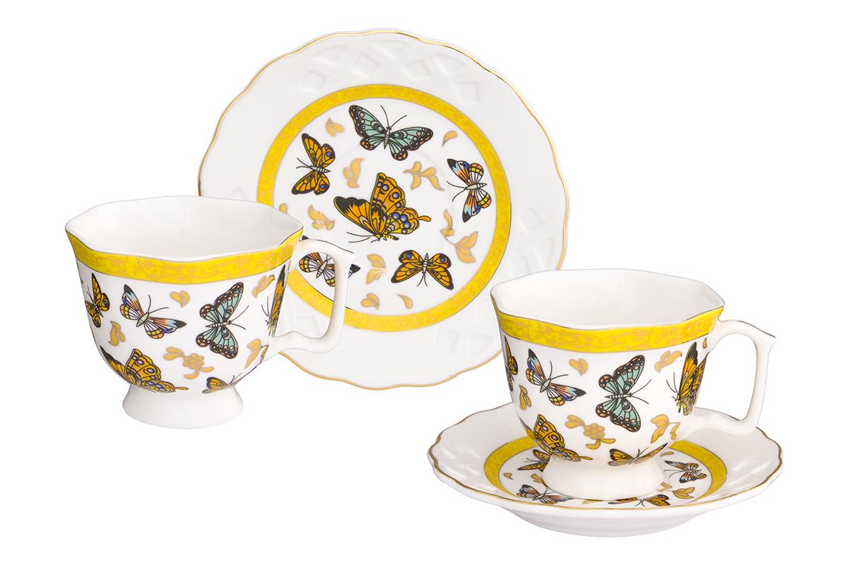 Кофейная пара Elan Gallery Бабочки, 4 предмета, 100 мл180999Кофейный набор на две персоны Elan Gallery Бабочки понравится любителям кофе.В комплекте две чашки, два блюдца. Соберите всю коллекцию предметов сервировки Бабочки, и ваши гости будут в восторге! Изделие станет желанным подарком для ваших близких!Не применять в микроволновой печи.