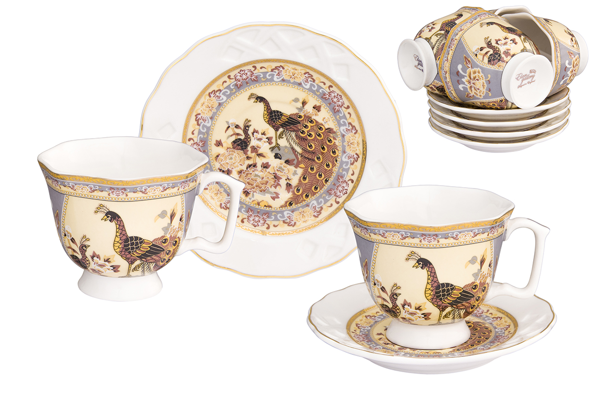 Кофейный набор Elan Gallery Павлин на бежевом, 12 предметов набор чайных пар elan gallery павлин синий с ложками 6 предметов
