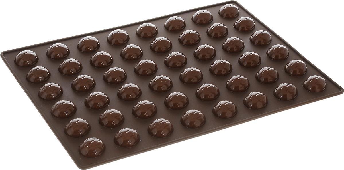 Форма для выпечки орешков Tescoma Delicia Silicone, силиконовая, 48 ячеек, 32 х 22 см629353Форма для выпечки Tescoma Delicia Silicone выполнена из высококачественного гибкого термостойкого силикона. Формы из силикона выдерживают температуру до +230°C. Их не нужно смазывать маслом, пища не пригорает и не липнет к стенкам. Извлекать выпечку из таких форм очень удобно и просто. Форму можно использовать для выпечки орешков или как форму для шоколада Форму можно ставить в духовку, холодильник/морозильную камеру и мыть в посудомоечной машине.Размер формы: 32 х 22 см.Размер ячейки: 2,9 х 2,4 х 1 см.Количество ячеек: 48 шт.