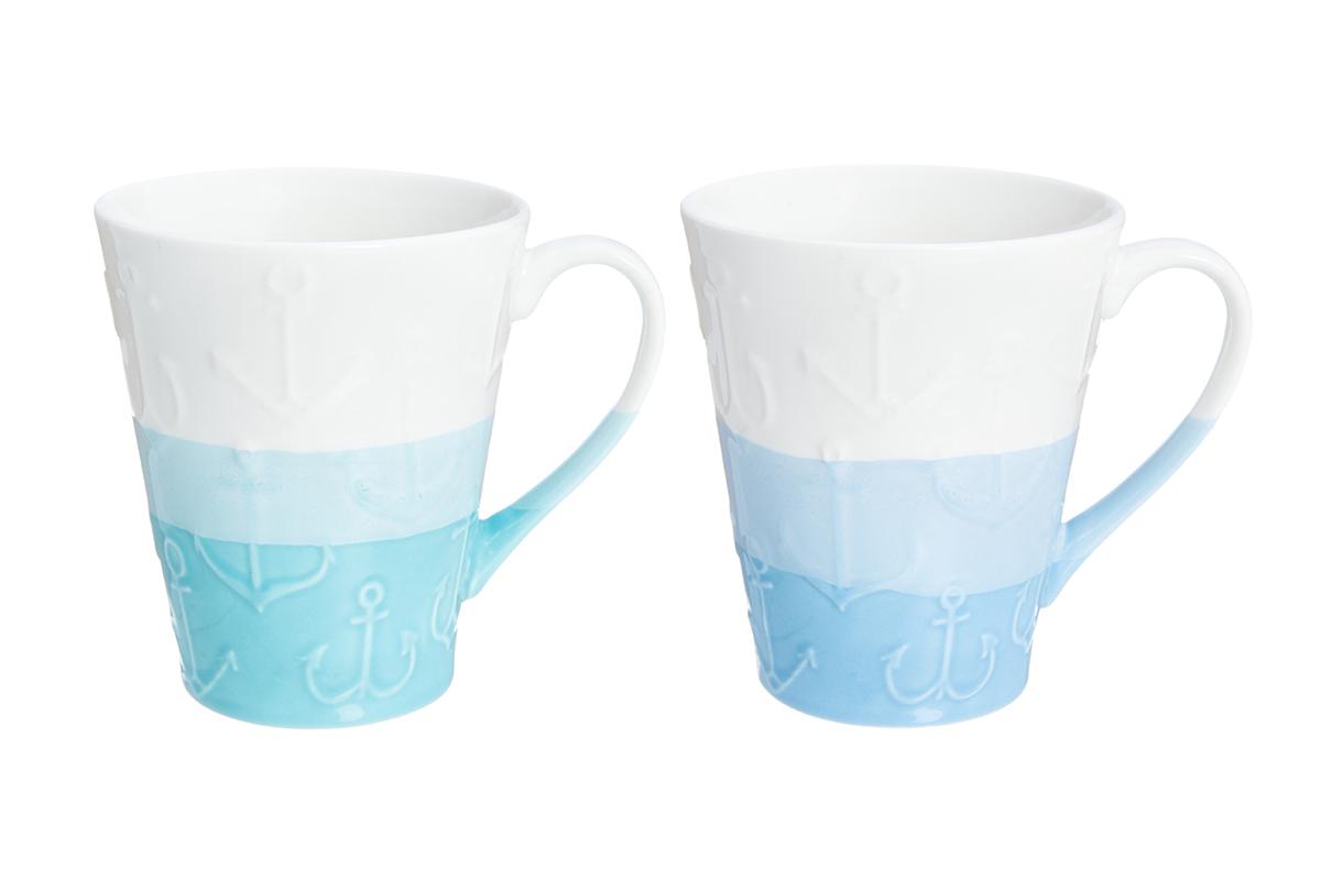 Набор кружек Elan Gallery Якорь, цвет: белый, голубой, 350 мл, 2 шт230111Набор из двух кружек не только сделают Ваше чаепитие очень приятным, но и станет желанным подарком для Ваших близких!Продукт изготовлен из качественных материалов приятного оттенка. Кружки Elan Gallery превосходно дополнят ваш стиль одежды и преподнесут вас в выгодном свете и в театре и в парке. Представленная вещь будет хорошим приобретением или презентом другу. Объем кружек: 350 мл.