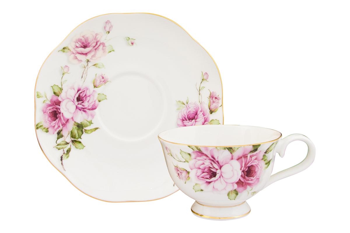 Чайная пара Elan Gallery Амалия, 2 предмета530069Изысканный чайный набор с цветочным декором на 1 персону украсит Ваше чаепитие. В комплекте 1 чашка объемом 220 мл, 1 блюдце. Изделие имеет подарочную упаковку, поэтому станет желанным подарком для Ваших близких! Соберите всю коллекцию предметов сервировки Амалия и Ваши гости будут в восторге!