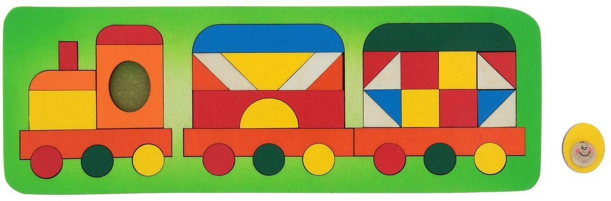 Крона Пазл для малышей Паровозик-геометрик флексика пазл для малышей геометрия цвет основы красный