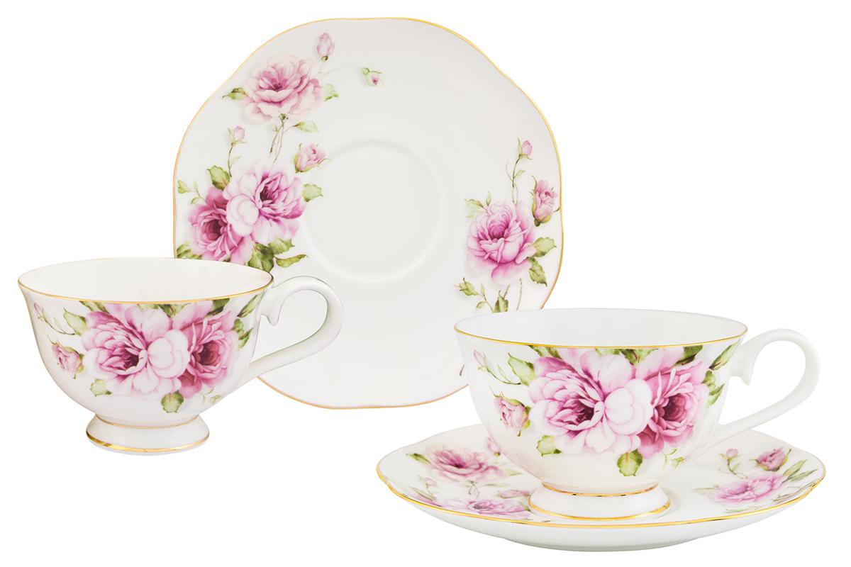 Чайная пара Elan Gallery Амалия, 4 предмета530070Изысканный чайный набор Elan Gallery Амалия с цветочным декором на две персоны украсит ваше чаепитие. Изделие имеет подарочную упаковку, поэтому станет желанным подарком для ваших близких! В комплекте 2 чашки объемом 220 мл, 2 блюдца.