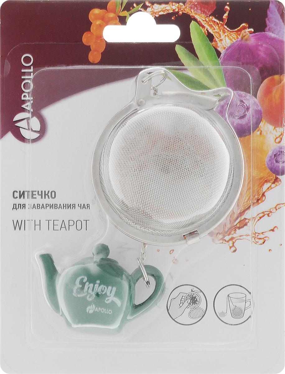 Ситечко для чая Apollo With Teapot, цвет: темно-зеленый, диаметр 5 смSTO-01_темно-зеленыйСитечко Apollo With Teapot прекрасно подходит для заваривания любого вида чая. Изделие выполнено из нержавеющей стали. Ситечком очень легко пользоваться - просто насыпьте заварку внутрь и погрузите на дно кружки. Ситечко дополнено металлической цепочкой с фигуркой заварочного чайника из полирезина. Забавная и приятная вещица для вашего домашнего чаепития.Не рекомендуется мыть в посудомоечной машине.Размер фигурки: 4,5 х 3 х 2,5 см. Диаметр ситечка: 5 см.