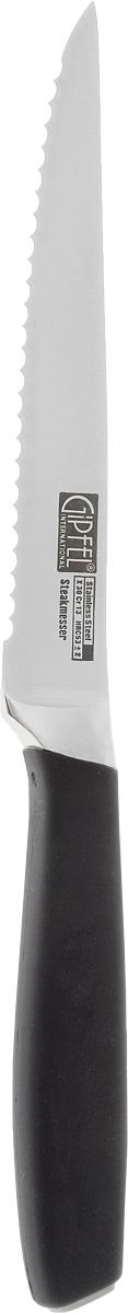 Нож для мяса Gipfel Profilo, длина лезвия 12 см6882Нож Gipfel Profilo предназначен для мяса и выполнен из высокоуглеродистой легированной нержавеющей стали (с повышенным содержанием углерода). Ножи из высокоуглеродистой нержавеющей стали относятся к ножам более высокого класса. Эти ножи сочетают в себе все самые лучшие свойства углеродистой и нержавеющей стали. Высокое содержание углерода способствует долгому сохранению заточки, а нержавеющая сталь обеспечивает устойчивость к коррозии и пятнообразованию. Ножи из высокоуглеродистой стали имеют в составе сплава дополнительные элементы, например, молибден, ванадий. Их наличие способствует увеличению твердости, времени сохранения заточки и режущей способности. Прорезиненная ручка способствует комфортному использованию ножа.Длина лезвия ножа: 12 см.Общая длина ножа: 23 см.
