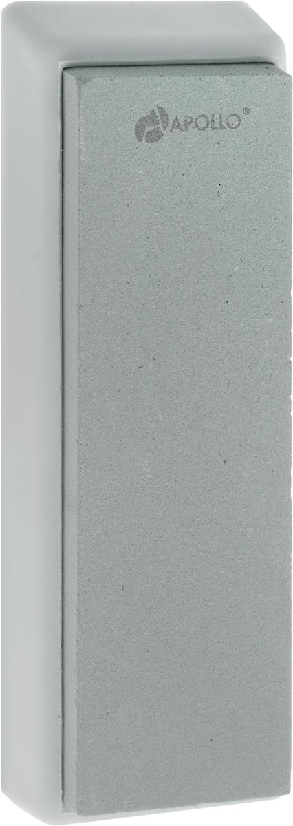 """Точильный камень Apollo """"Zorro"""", изготовленный из зеленого  карборунда, предназначен для основной заточки кухонных  ножей из нержавеющей стали с прямым лезвием и одинаково  удобен как для правшей, так и для левшей. Камень расположен  на подставке, которая не скользит, чем обеспечивается  дополнительный комфорт и безопасность во время процесса  заточки. Зернистость камня: 1000. Размер камня: 4 х 13 см. Размер камня с подставкой: 5 х 14,5 х 1,5 см."""