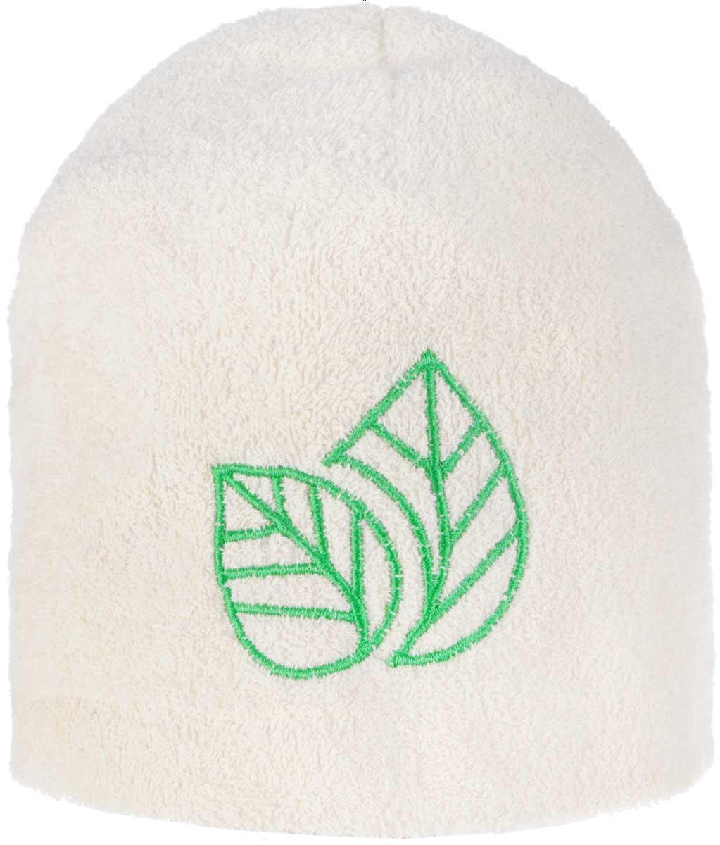 Шапка для бани и сауны Доктор Баня Листок, цвет: белый, зеленый шапка для бани и сауны доктор баня классическая кант