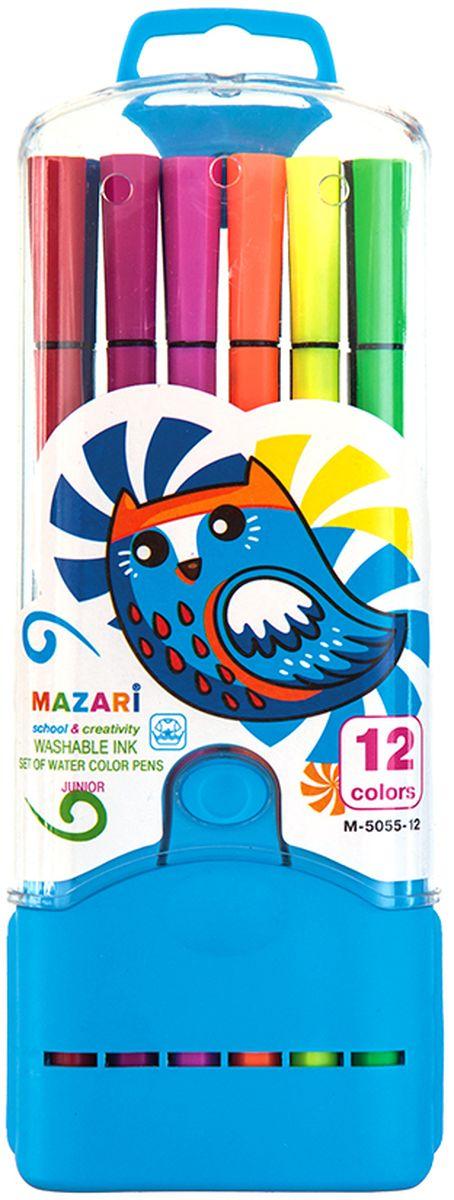 Mazari Набор фломастеров Junior 12 цветов М-5055-12М-5055-12Яркие фломастеры Mazari Junior помогут маленькому художнику раскрыть свой творческий потенциал, рисовать и раскрашивать яркие картинки, развивая воображение, мелкую моторику и цветовосприятие. В наборе 12 разноцветных фломастеров. Корпусы выполнены из пластика. Чернила на водной основе нетоксичны, благодаря чему полностью безопасны для ребенка и имеют яркие, насыщенные цвета. Если маленький художник запачкался - не беда, ведь фломастеры отстирываются с большинства тканей. Вентилируемый колпачок надолго сохранит яркость цветов.