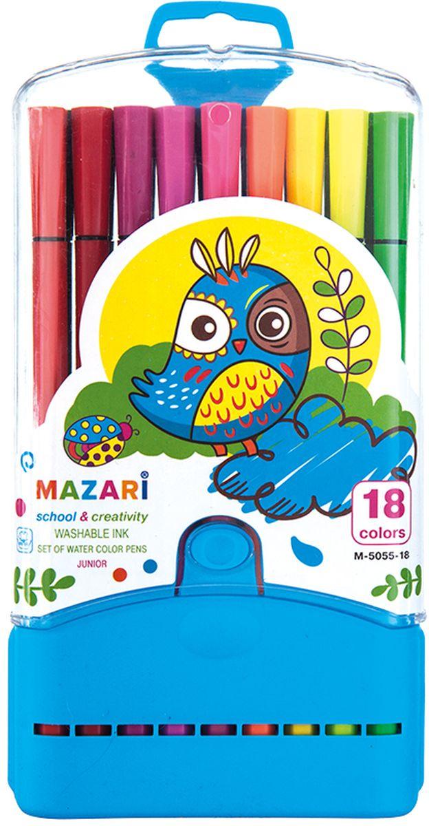 Mazari Набор фломастеров Junior 18 цветов М-5055-18М-5055-18Яркие фломастеры Mazari Junior помогут маленькому художнику раскрыть свой творческий потенциал, рисовать и раскрашивать яркие картинки, развивая воображение, мелкую моторику и цветовосприятие.В наборе 18 разноцветных фломастеров. Корпусы выполнены из пластика. Чернила на водной основе нетоксичны, благодаря чему полностью безопасны для ребенка и имеют яркие,насыщенные цвета. Если маленький художник запачкался - не беда, ведь фломастеры отстирываются с большинства тканей. Вентилируемый колпачок надолго сохранит яркость цветов.