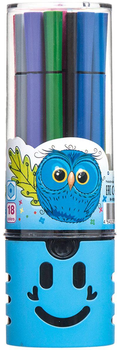 Mazari Набор фломастеров Junior 18 цветов цвет футляра голубой877067-18Яркие фломастеры Mazari Junior помогут маленькому художнику раскрыть свой творческий потенциал, рисовать ираскрашивать яркие картинки, развивая воображение, мелкую моторику и цветовосприятие.В наборе 18 разноцветных фломастеров. Корпусы выполнены из пластика. Чернила на водной основе нетоксичны, благодаря чему полностью безопасны для ребенка и имеют яркие,насыщенные цвета. Если маленький художник запачкался - не беда, ведь фломастеры отстирываются с большинстватканей. Вентилируемый колпачок надолго сохранит яркость цветов. Набор фломастеров упакован в удобный пластиковый пенал, оформленный изображением забавной мордочки.