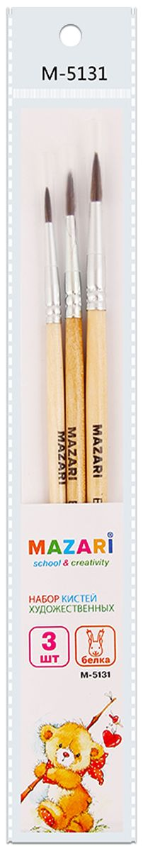 Mazari Набор кистей беличьих №1, 2, 3 (3 шт)М-5131Кисти Mazari идеально подойдут для художественных и декоративно-оформительских работ.Щетина изготовлена из волоса белки.Деревянные ручки оснащены алюминиевыми втулками с двойной обжимкой.В набор входят кисти № 1, 2, 3.