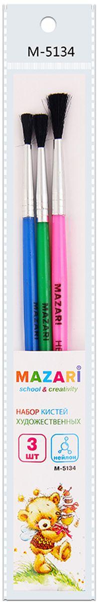 Mazari Набор кистей из нейлона №2, 3, 5 (3 шт)М-5134Набор художественных кистей «Mazari» идеально подойдет для художественных и декоративно-оформительских работ. Щетина изготовлена из нейлона. Такие кисти прекрасно подойдут для масляных красок и акрила.В набор входят кисти № 2, 3, 5.