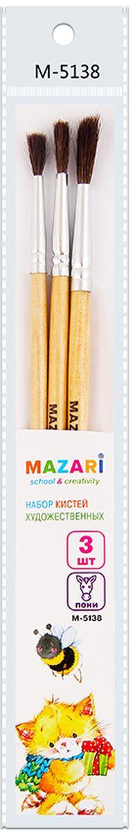 Mazari Набор кистей из волоса пони №2, 4, 6 (3 шт)М-5138Набор кистей Mazari - это незаменимый атрибут для рисования.В наборе три кисти № 2, 4, 6, изготовленные из натурального волоса пони и дерева. Такой набор кистей отличается от других наборов особой прочностью, упругостью и эластичностью.