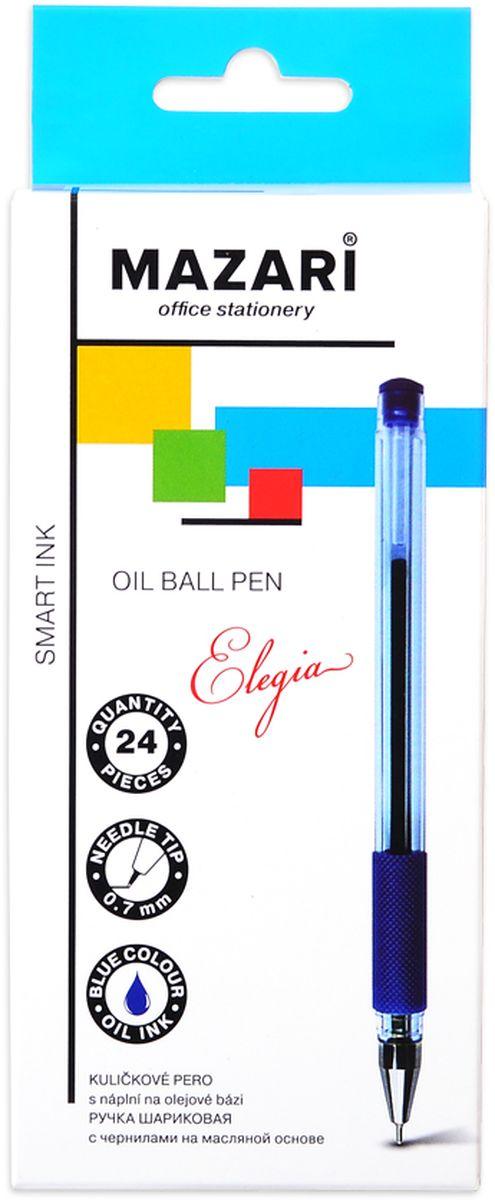 Mazari Ручка шариковая Elegia цвет синийМ-5746Ручка шариковая Mazari Elegia на масляной основе, игольчатый пишущий узел 0.7мм, корпус пластиковый полупрозрачный, с резиновым грипом.