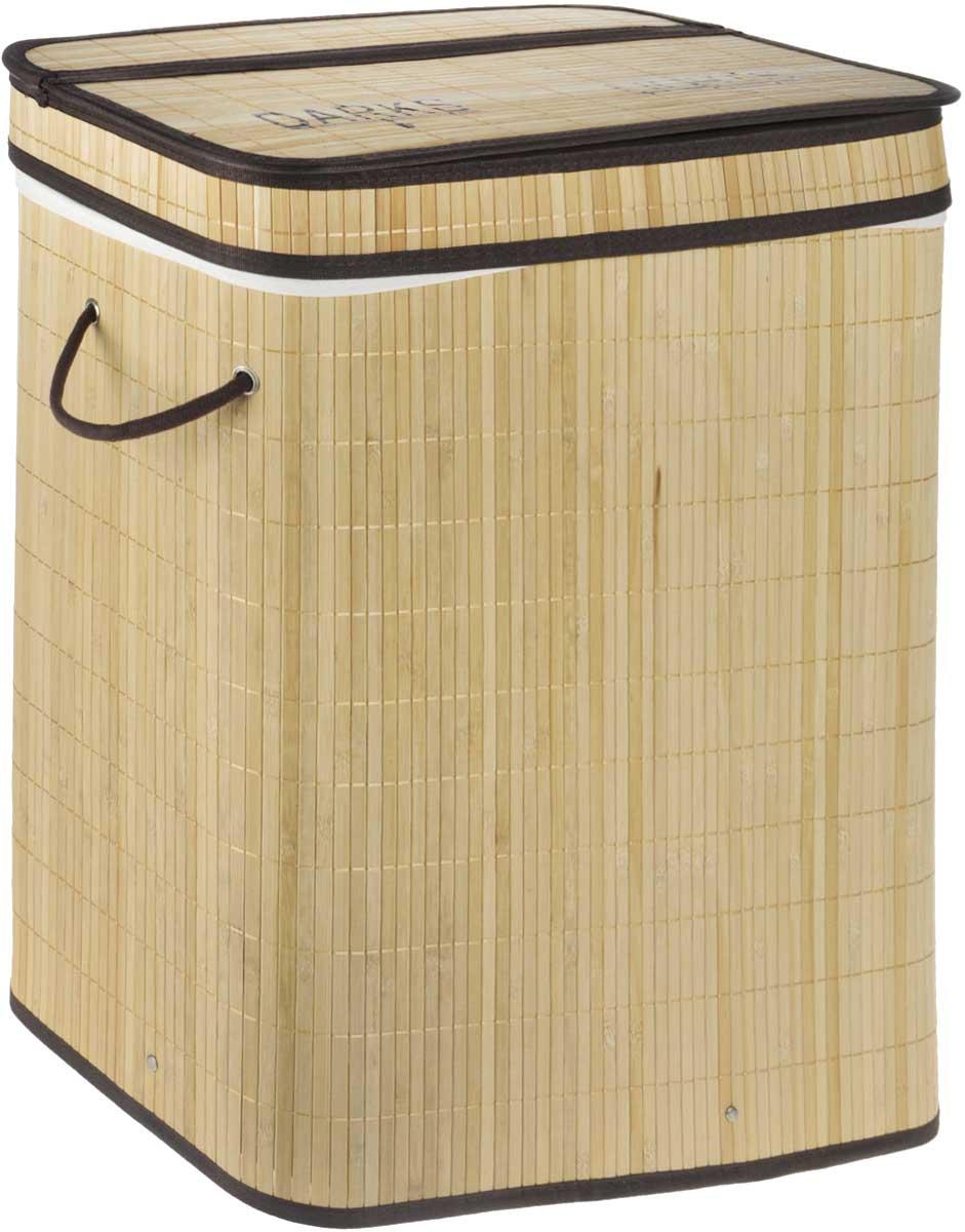 """Большая корзина с крышкой Tatkraft """"Find"""", выполненная из бамбука, и оснащена съемным текстильным чехлом с двумя секциями для темного и светлого белья. Натуральный бамбук подходит для помещений с высокой влажностью, обладает дезодорирующими и антисептическими свойствами.Размер секций: 27 х 31 х 60 см.Размер корзины (без учета крышки): 52 х 32 х 63 см."""