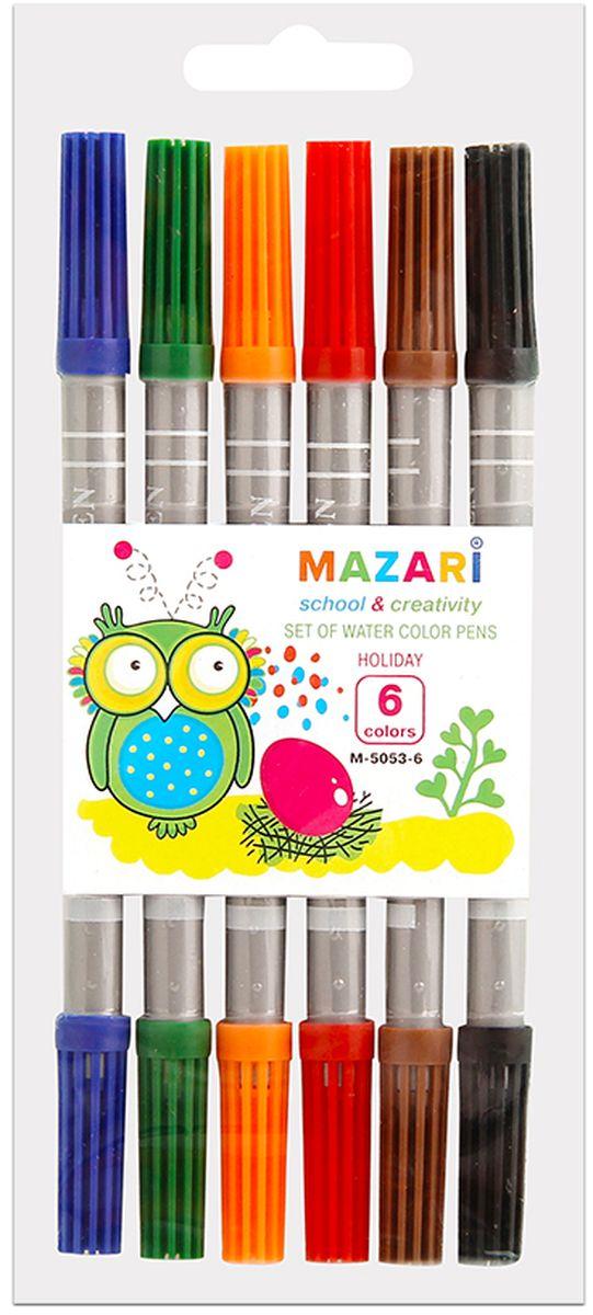 Mazari Набор двусторонних фломастеров Holiday 6 цветовМ-5053-6Набор цветных фломастеров Mazari Holiday - это прекрасный набор для творчества, который подойдет любому юному художнику.Фломастеры имеют яркие, насыщенные цвета и легко отстирываются с большинства тканей и бытовых поверхностей. В наборе 6 цветных двусторонних фломастеров с вентилируемыми колпачками.