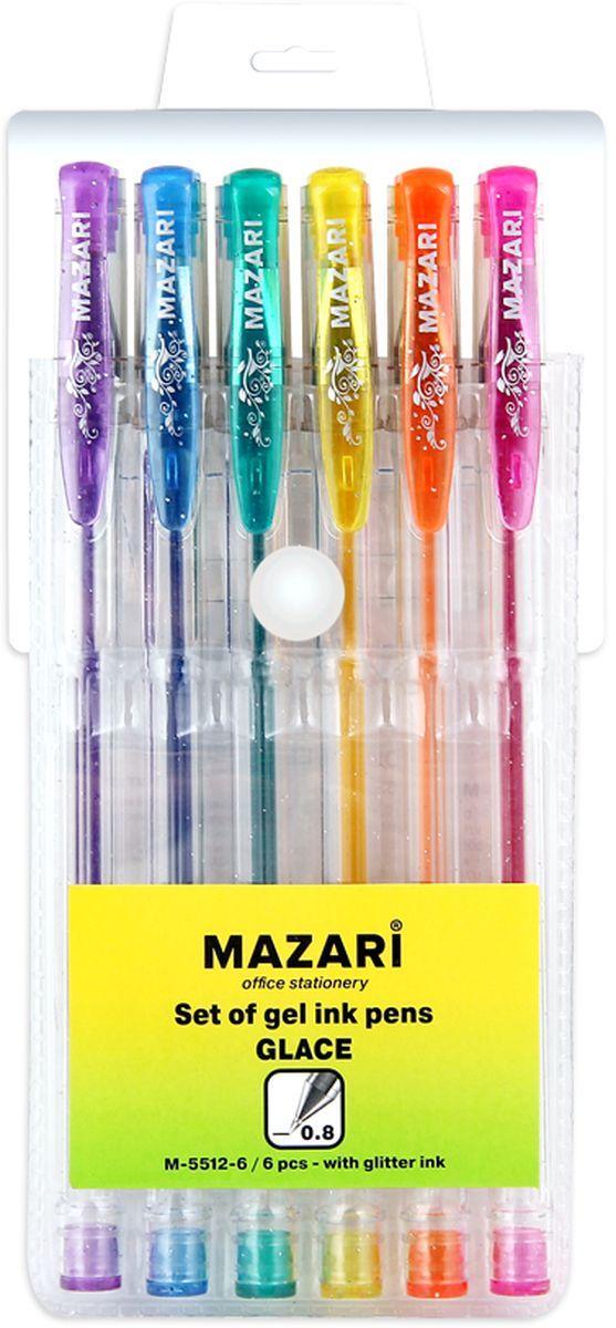 Mazari Набор гелевых ручек с блестками Glace 6 цветов mazari набор гелевых ручек orion 4 цвета
