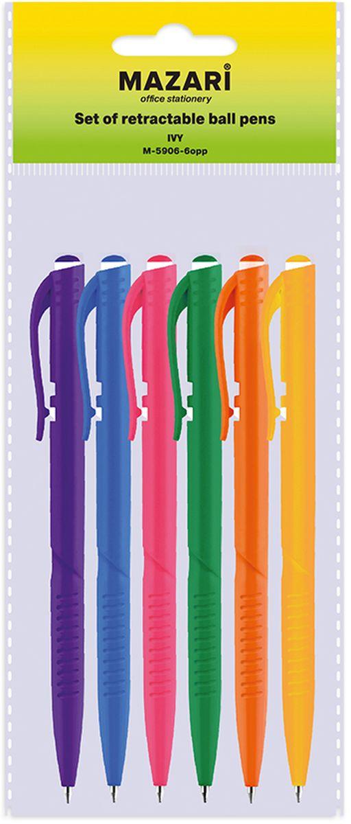 Mazari Набор шариковых ручек Ivy цвет синий 6 штМ-5906-6oppНабор шариковых ручек Mazari Ivy состоит из шести ручек синего цвета. Корпус ручек изготовлен из качественного цветного пластика. Ручка выполнена с автоматической подачей стержня, а также имеет пулевидный пишущий узел 0,7 мм. Ручки отлично подойдут и для письма, и просто для подчеркивания.