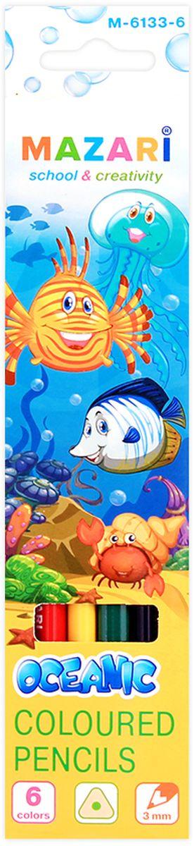 Mazari Набор цветных карандашей Oceanic 6 цветов1270C24Карандаши цветные Mazari Oceanic имеют эргономичную трехгранную форму корпуса. Карандаши поставляются с заточенным грифелем. Цветные карандаши имеют яркие насыщенные цвета. В наборе: 6 разноцветных карандашей. Карандаши легко затачиваются. С цветными карандашами Oceanic ваши дети будут создавать яркие и запоминающиеся рисунки.