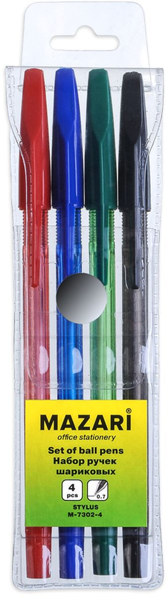 Mazari Набор шариковых ручек Stylus 4 цветаМ-7302-4Набор шариковых ручек Mazari Stylus состоит из четырех разноцветных ручек (синий, красный, зеленый, черный). Ручки пишут яркими насыщенными цветами. Ручки имеют пулевидный пишущий узел 0,7 мм. Корпус ручек изготовлен из качественного цветного пластика.Ручки отлично подойдут и для письма, и просто для подчеркивания.