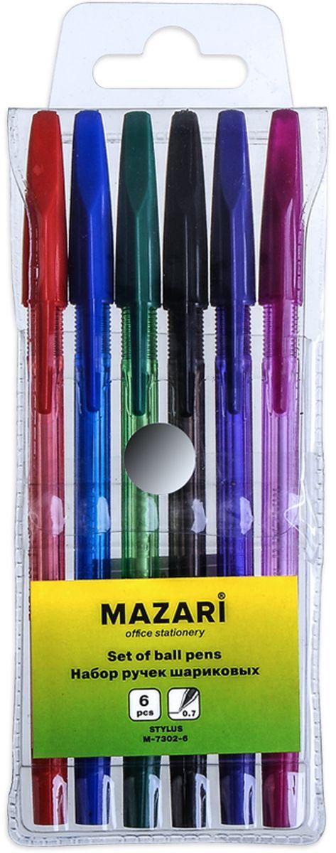 Mazari Набор шариковых ручек Stylus 6 цветовМ-7302-6Набор шариковых ручек Mazari Stylus состоит из шести разноцветных ручек (синий, красный, зеленый, черный, фиолетовый, розовый). Ручки пишут яркими насыщенными цветами. Ручки имеют пулевидный пишущий узел 0,7 мм. Корпус ручек изготовлен из качественного цветного пластика.Ручки отлично подойдут и для письма, и просто для подчеркивания.