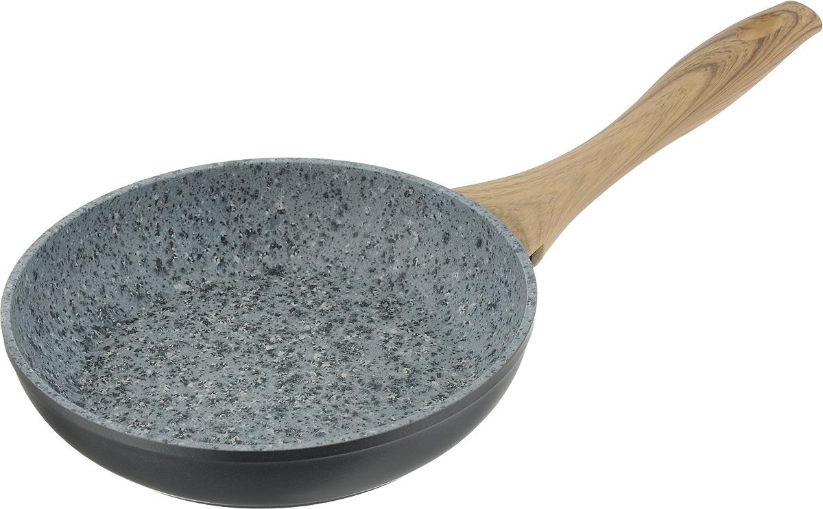 Сковорода Fissman Borrelly, с антипригарным покрытием. Диаметр 20 смAL-4897.20Сковорода Fissman Borrelly выполнена из литого алюминия с многослойным антипригарным покрытием EcoStone. Покрытие EcoSton создано по инновационной технологической идее, усиленное вкраплениями каменных частиц, оно устойчиво к царапина и износу. Усовершенствованная технология сцепления покрытия с поверхностью посуды обеспечивает наилучшие эксплуатационные свойства, прочность и долговечность. Утолщенное дно сковороды рационально распределяет тепло, что позволяет продуктам готовиться быстро и равномерно. Сковорода оснащена удобной бакелитовой ручкой, которая не нагревается в процессе приготовления пищи и не скользит в мокрых руках. Подходит для использования на газовых, электрических, стеклокерамических и индукционных плитах. Можно мыть в посудомоечной машине. Высота стенки: 4,3 см. Длина ручки: 18,5 см.