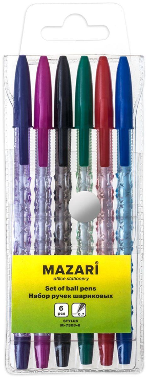 Mazari Набор шариковых ручек Twist 6 цветовМ-7303-6Набор шариковых ручек Mazari Twist отлично подойдет для оформления конспектов и других текстов, а также альбомов, дневников и открыток.Ручка имеет пишущий узел толщиной 0,7 миллиметра. Корпус изделий выполнен из прозрачного пластика, цвет колпачка соответствует цвету чернил.. В набор входят 6 ручек различных цветов.