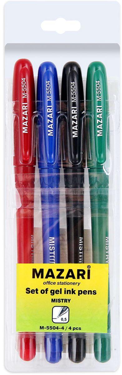 Mazari Набор гелевых ручек Mistry 4 цветаМ-5504-4Набор разноцветных гелевых ручек Mazari Mistry отлично подойдет для школы или офиса. Гелевая ручка имеет пулевидный пишущий узел 0,5 мм. Качественные гелевые чернила не требуют давления на пишущую поверхность, обеспечивая чёткие и плавные линии, а пластиковый цветной корпус с резиновым грипом позволяет контролировать их расход.В наборе 4 ручки - красного, зеленого, синего и черного цветов.