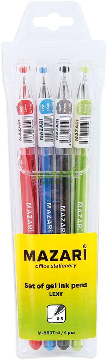 Mazari Набор гелевых ручек Lexy 4 цветаМ-5507-4Набор разноцветных гелевых ручек Mazari Lexy отлично подойдет для школы или офиса. Гелевая ручка имеет игольчатый пишущий узел 0,5 мм. Качественные гелевые чернила не требуют давления на пишущую поверхность, обеспечивая чёткие и плавные линии, а полупрозрачный корпус позволяет контролировать их расход. В наборе 4 ручки: красного, зеленого, синего и черного цветов.