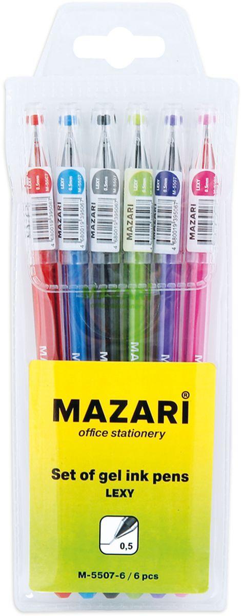 Mazari Набор гелевых ручек Lexy 6 цветовМ-5507-6Набор разноцветных гелевых ручек Mazari Lexy отлично подойдет для школы или офиса. Гелевая ручка имеет игольчатый пишущий узел 0,5 мм. Качественные гелевые чернила не требуют давления на пишущую поверхность, обеспечивая чёткие и плавные линии, а полупрозрачный корпус позволяет контролировать их расход. В наборе 6 ручек: красного, зеленого, синего, фиолетового, розового и черного цвета.