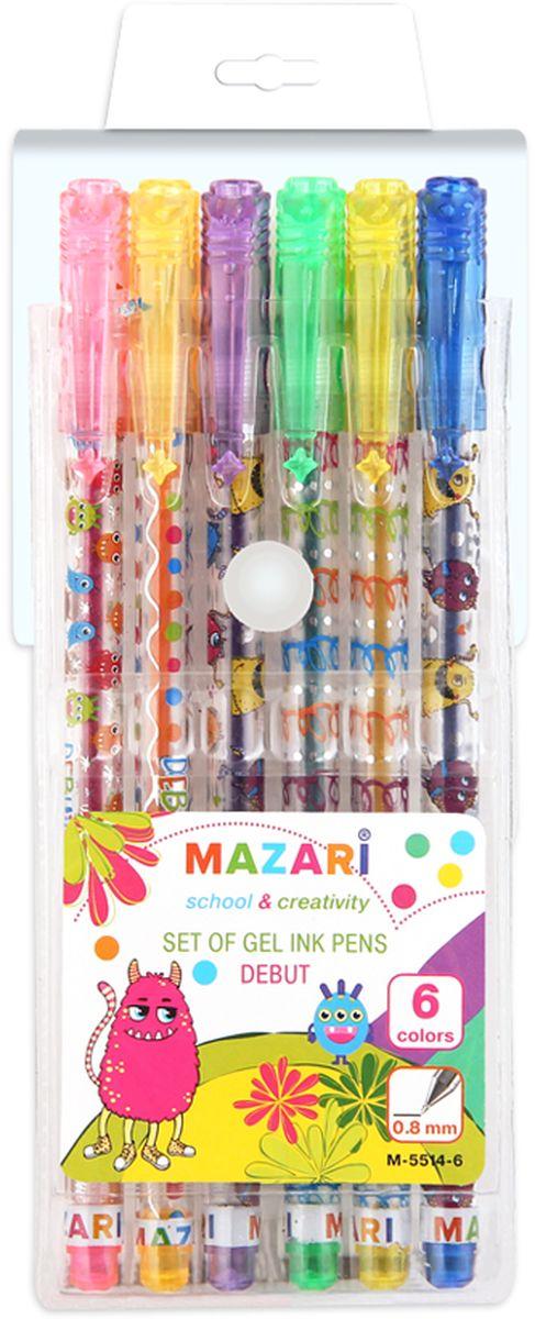 Mazari Набор гелевых ручек с блестками Debut 6 цветов mazari набор гелевых ручек orion 4 цвета