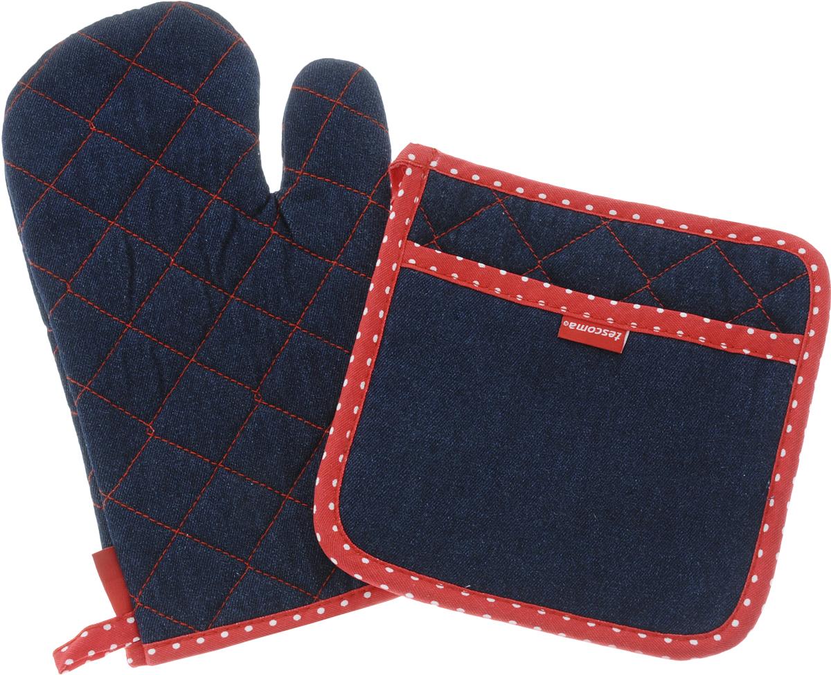 Набор прихваток Tescoma Presto Denim, 2 предмета639796Набор Tescoma Presto Denim состоит из прихватки-рукавицы и квадратной прихватки. Изделия выполнены из натурального хлопка. Прихватки простеганы, а края окантованы.Tescoma Presto Denim - оригинальный, стильный и практичный комплект. Сочетание джинсовой ткани с красно-белой отделкой, безусловно, покорит сердце любой современной хозяйки! Изделия снабжены петлей и магнитом для удобного подвешивания,просты в обслуживании, можно стирать в стиральной машине.Такой набор красиво дополнит интерьер кухни. Размер прихватки-рукавицы: 18 х 30 см.Размер прихватки: 20 х 20 см.