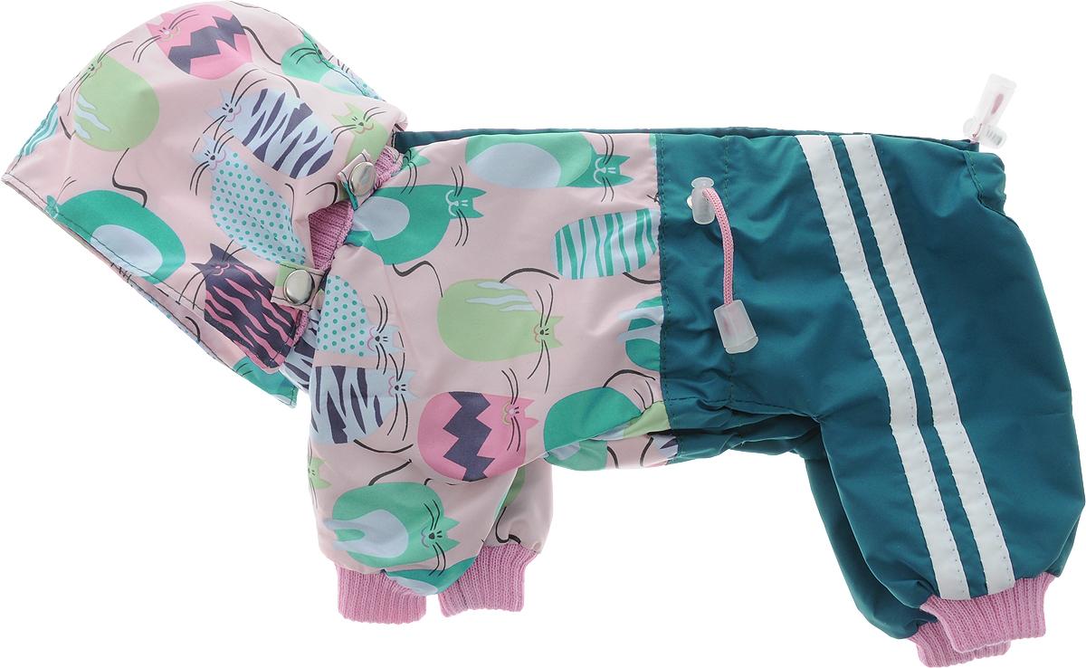 Комбинезон для собак Kuzer-Moda Куртка-брюки, унисекс, двухслойный, цвет: темно-зеленый, розовый. Размер 21KZ000859_темно-зеленыйКомбинезон для собак Kuzer-Moda Куртка-брюки отлично подойдет для прогулок в прохладную погоду.Комбинезон изготовлен из прочной ткани, которая сохранит тепло и обеспечит отличный воздухообмен. Комбинезон с капюшоном застегивается на кнопки, благодаря чему его легко надевать и снимать. Ворот, низ рукавов и брючин оснащены трикотажными резинками, которые мягко обхватывают шею и лапки, не позволяя просачиваться холодному воздуху. На пояснице имеются затягивающиеся шнурки, которые также не позволяют проникнуть холодному воздуху.Благодаря такому комбинезону простуда не грозит вашему питомцу, и он не даст любимцу продрогнуть на прогулке. Длина по спинке: 26 см.Обхват шеи: 18 см.Одежда для собак: нужна ли она и как её выбрать. Статья OZON Гид