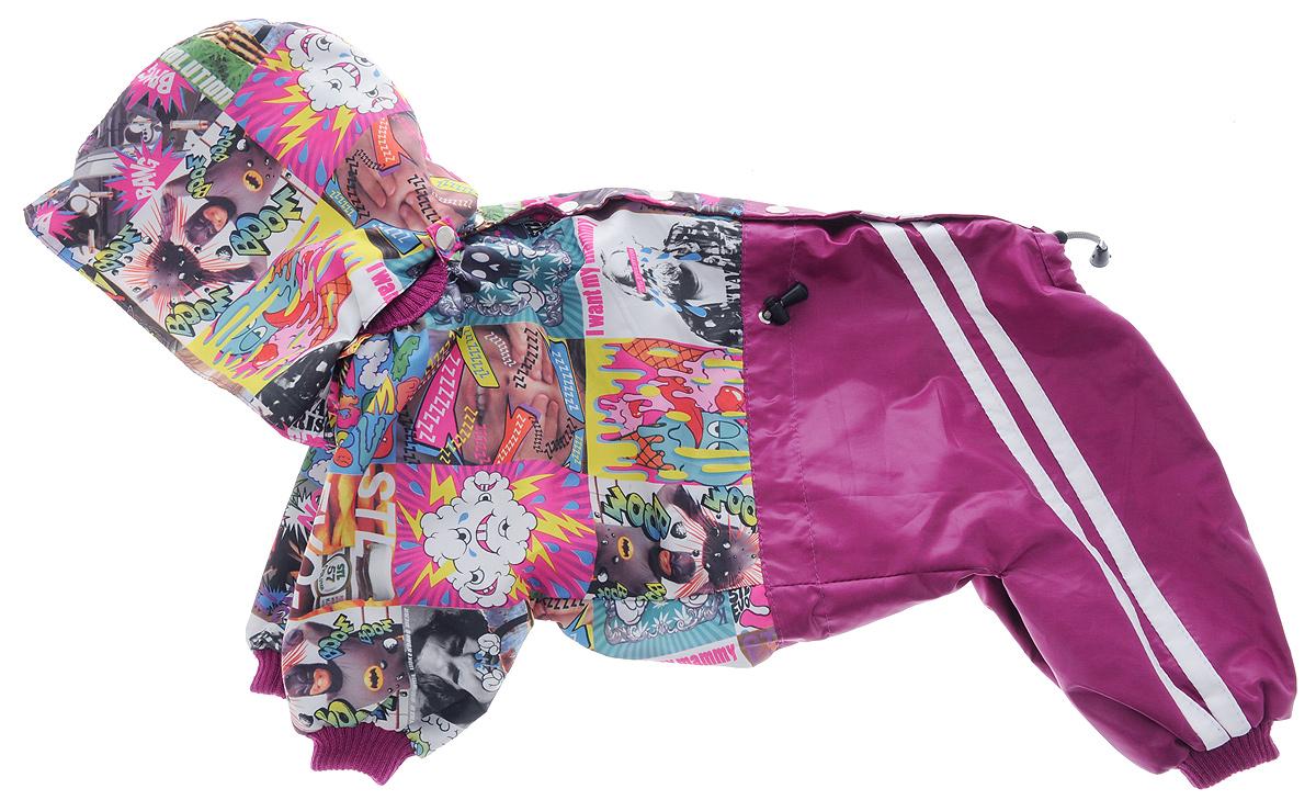 Комбинезон для собак Kuzer-Moda Куртка-брюки, для девочки, двухслойный, цвет: фуксия, белый. Размер 27 XLKZ002604/малиновыйКомбинезон для собак Kuzer-Moda Куртка-брюки отлично подойдет для прогулок в прохладную погоду.Комбинезон изготовлен из прочной плащевой ткани, которая сохранит тепло и обеспечит отличный воздухообмен. Комбинезон с капюшоном застегивается на кнопки, благодаря чему его легко надевать и снимать. Ворот, низ рукавов и брючин оснащены трикотажными резинками, которые мягко обхватывают шею и лапки, не позволяя просачиваться холодному воздуху. На пояснице имеются затягивающиеся шнурки, которые также не позволяют проникнуть холодному воздуху.Благодаря такому комбинезону простуда не грозит вашему питомцу, и он не даст любимцу продрогнуть на прогулке. Длина по спинке: 37 см.Обхват груди: 57 см.Обхват шеи: 22 см.