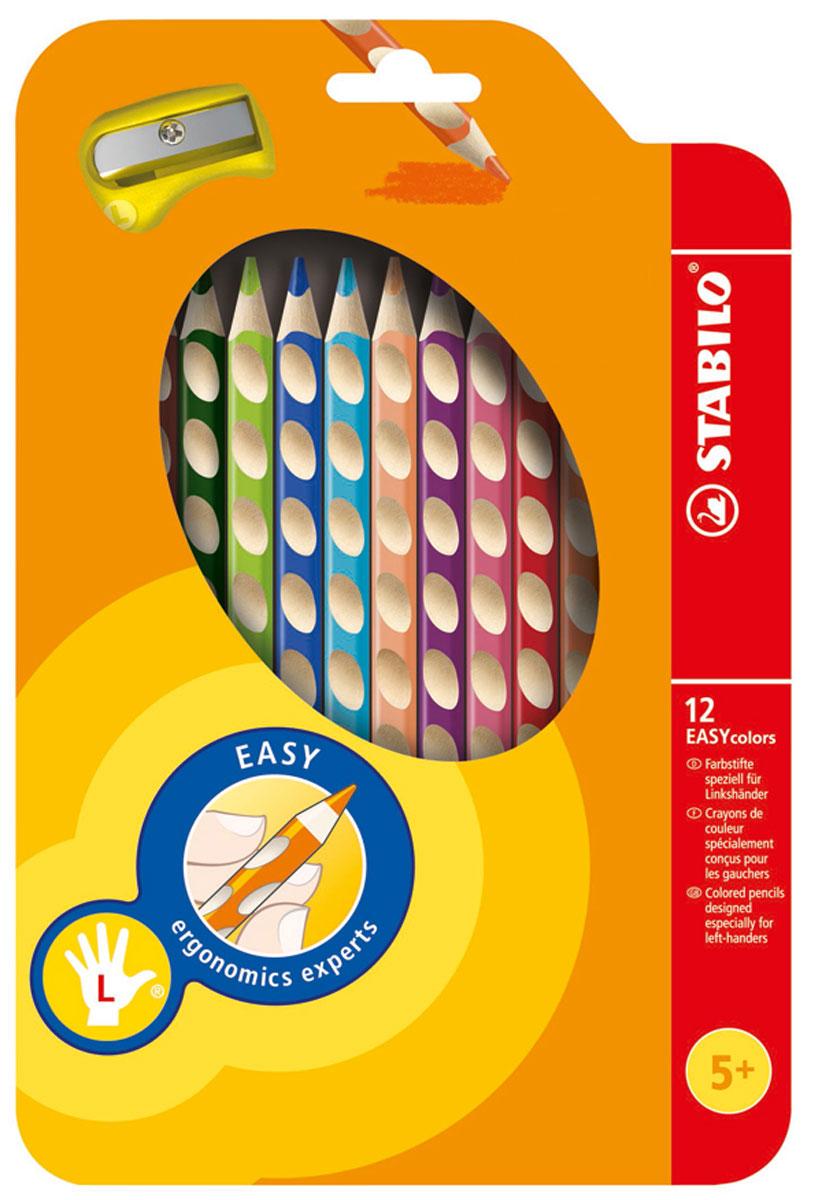 Набор цветных карандашей Stabilo Easycolors для левшей, 12 цветов331/12Преимущества карандашей STABILO EASYcolors. Специальные углубления на корпусе карандаша подсказывают ребенку как располагать большой и указательный пальцы, прививая первоначальный навык правильно держать пишущий инструмент. Расположение углубление по всей длине корпуса обеспечивает правильное удержание карандаша ребенком при письме и рисовании даже после заточки карандаша. С течением времени навык автоматически закрепляется в памяти ребенка, позволяя ему быстрее и легче адаптироваться к процессу обучения письму, освоить правильную технику письма и сделать письмо красивым и быстрым. Создают максимальный комфорт для ребенка - трехгранная форма карандаша соответствует естественному захвату руки, уменьшая мышечные усилия, необходимые для его удержания, - ребенок может рисовать длительное время без ощущения усталости. Утолщенная форма корпуса облегчает удержание карандашей детьми с недостаточно развитой мелкой моторикой руки. Карандаши разработаны с учетом особенностей строения руки ребенка и имеют две версии: для правшей и для левшей, обеспечивая им одинаково комфортное письмо. Рекомендуются в начале обучения рисованию и письму. Мягкий грифель легко рисует на бумаге, не царапая ее и не крошась, и оставляет яркий след без каких-либо усилийУтолщенный грифель диаметром 4,5 мм не нуждается в постоянном затачивании, так как имеет повышенную стойкость к поломкам. 12 ярких насыщенных цветов, карандаши можно подписать.Карандаши являются обладателями Европейского сертификата качества (маркировка на корпусе СЕ), что подтверждает их высочайшее качество и безопасность для здоровья. Характеристики: Длина карандаша:18 см. Размер упаковки:16 см х 24 см х 1,5 см. Изготовитель:Европейский Союз.
