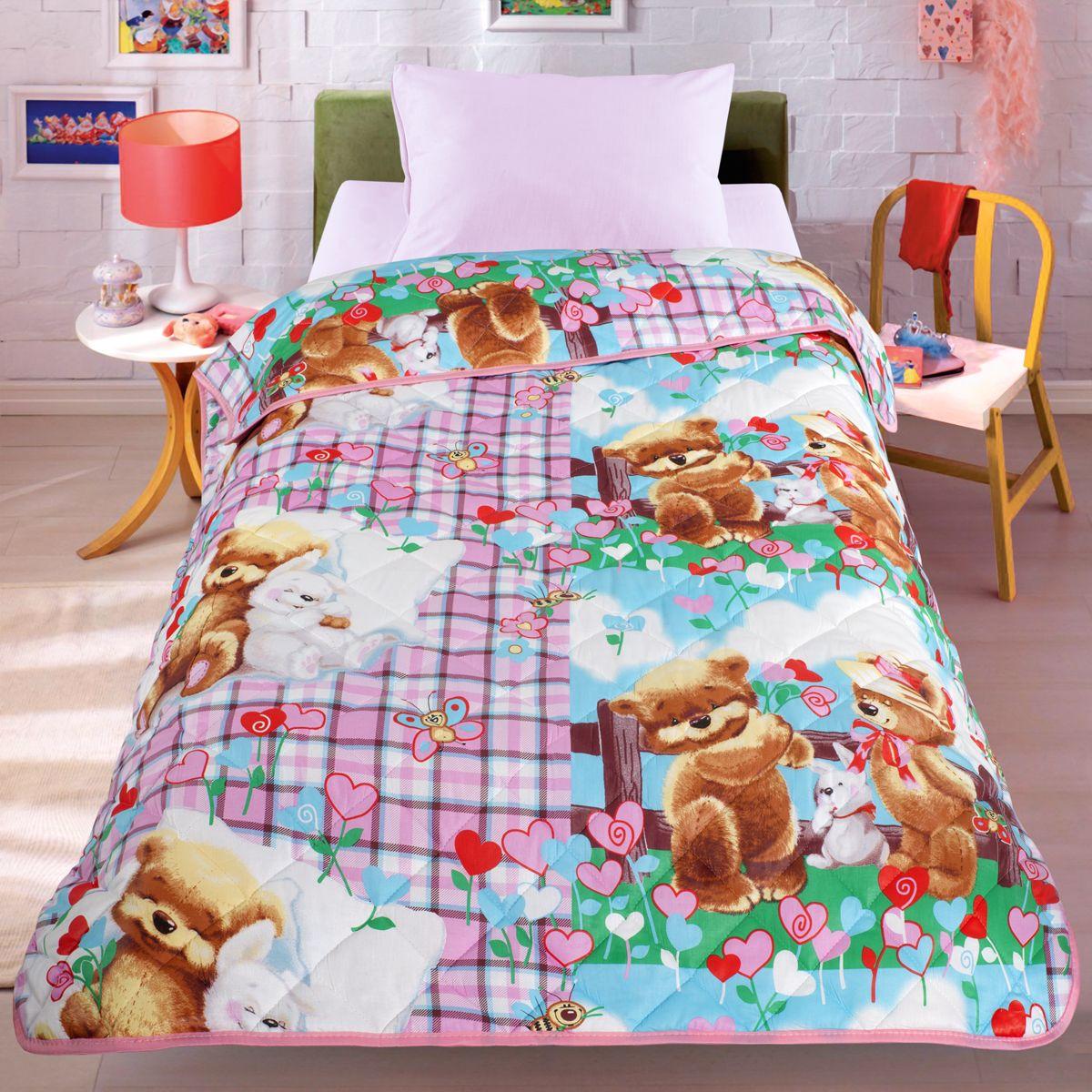 Покрывало-одеяло Letto Мишки и зайка, облегченное, цвет: розовый, 140 x 200 смbear-rabbit140Легкое оригинальное покрывало в чехле будет радовать вас и вашего малыша в течение всего года. Сидеть на таком покрывале будет приятно и комфортно - ведь оно выполнено из 100% хлопка. К тому же покрывало можно использовать и как одеяло на детскую кровать. Дизайн двусторонний. Наполнитель - силиконизированное волокно. Вашему ребенку не будет жарко под таким одеялом, а это значит он не будет раскрываться.